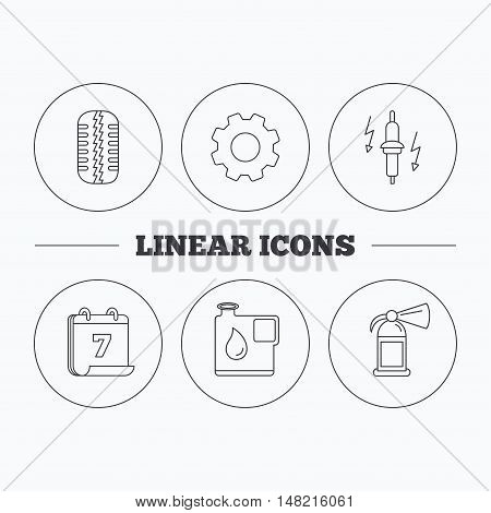 Wheel, fire extinguisher and spark plug icons. Fuel jerrycan, tire tread linear signs. Flat cogwheel and calendar symbols. Linear icons in circle buttons. Vector