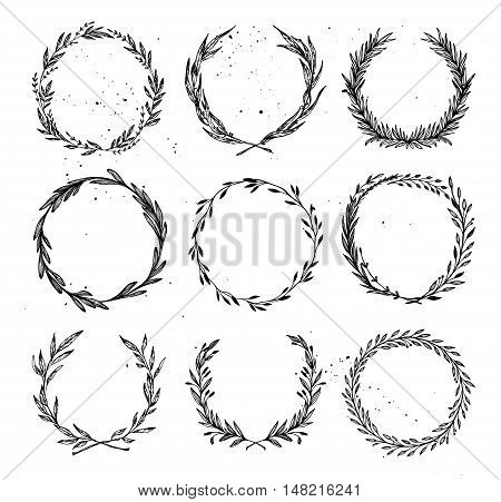 Hand Drawn Vector Illustration - Laurels And Wreaths. Design Elements For Invitations, Greeting Card