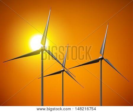 Vector wind turbines , vector illustration .