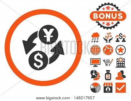 Dollar Yuan Exchange icon with bonus images. Vector illustration style is flat iconic bicolor symbols, orange and gray colors, white background.