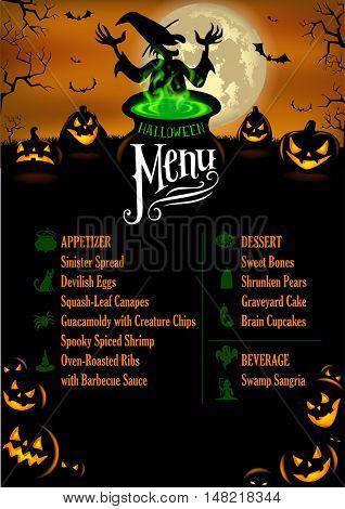 Halloween Menu Template in vector format