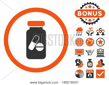 Drugs Phial icon with bonus pictogram. Vector illustration style is flat iconic bicolor symbols, orange and gray colors, white background.