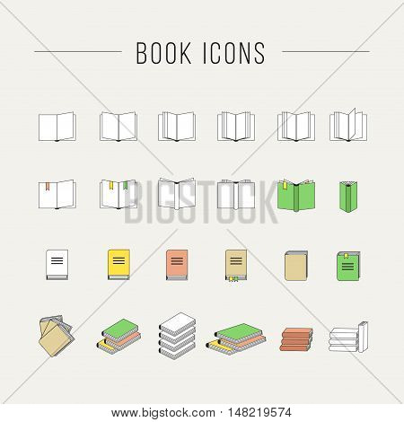 Simple set of books related vector icons for your design.