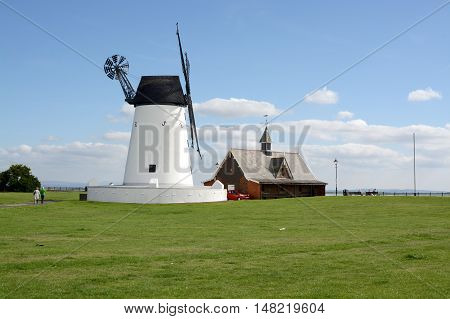 LYTHAM ST ANNES, UK - 18 SEPTEMBER 2016: Lytham windmill, designed for grinding wheat and oats, sited at Lytham Green, Lytham St Annes, Lancashire, UK