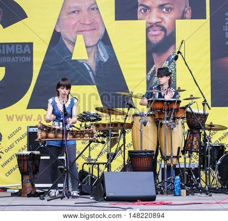 St. Petersburg, Russia - 13 August, Musicians playing various percussion instruments,13 August, 2016. Africa and the Russian Culture Festival on Krestovsky Island in St. Petersburg.