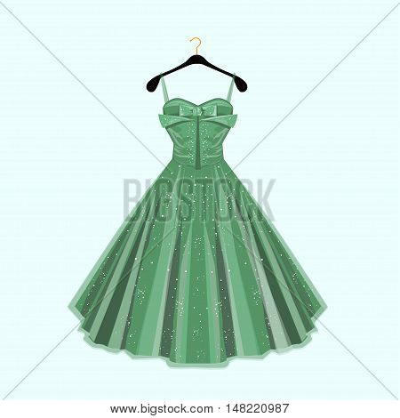Green beautiful  party dress. Vector fashion illustration.