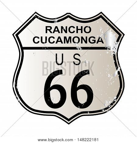 Rancho Cucamonga Route 66 traffic sign over a white background and the legend ROUTE US 66