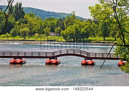 Korana river bridge and waterfall town of Karlovac Croatia