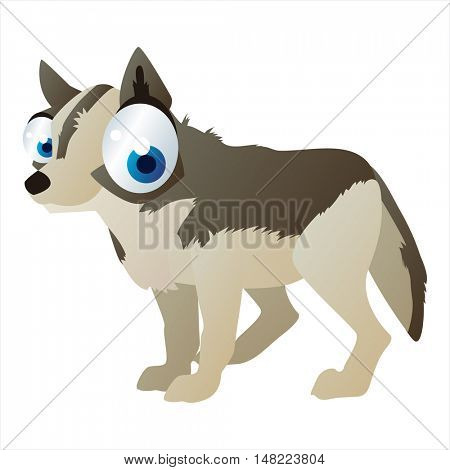 vector cartoon cute animal mascot. Funny colorful cool illustration of happy Wolf