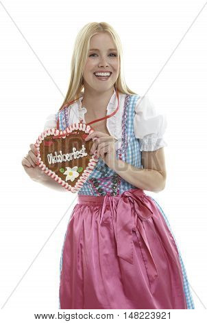 Woman with an Oktoberfest Ginger Bread heart