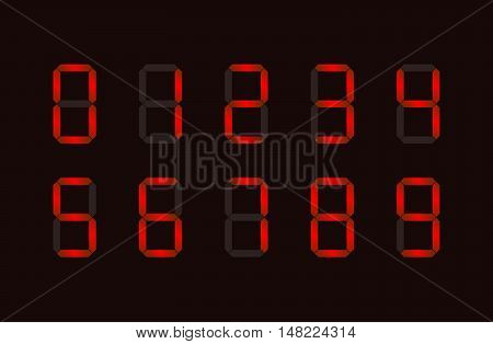 Set of red digital number signs made up from seven segments on dark background
