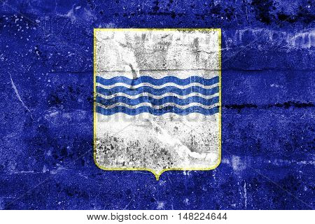 Flag Of Basilicata, Italy, Painted On Dirty Wall
