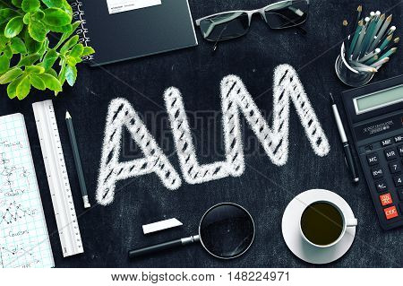 Top View of Office Desk with Stationery and Black Chalkboard with Business Concept - ALM. 3d Rendering. Toned Image.