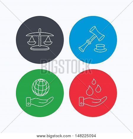 Save nature, auction and scales of justice icons. Save planet linear sign. Linear icons on colored buttons. Flat web symbols. Vector