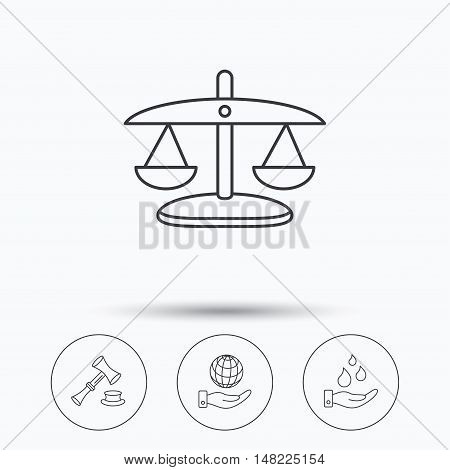 Save nature, auction and scales of justice icons. Save planet linear sign. Linear icons in circle buttons. Flat web symbols. Vector