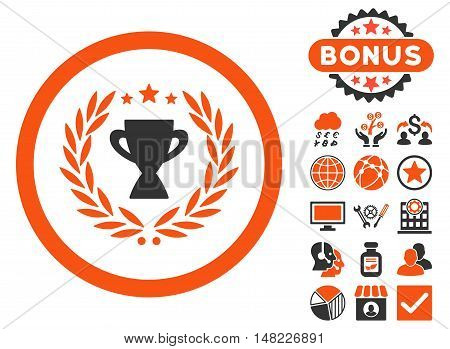 Glory icon with bonus elements. Vector illustration style is flat iconic bicolor symbols, orange and gray colors, white background.