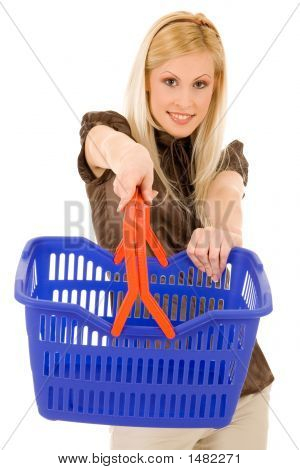 Blond Girl With Shopping Basket