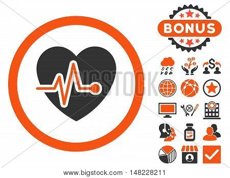Heart Pulse icon with bonus elements. Vector illustration style is flat iconic bicolor symbols, orange and gray colors, white background.