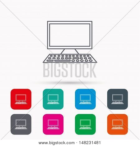 Computer PC icon. Widescreen display sign. Linear icons in squares on white background. Flat web symbols. Vector