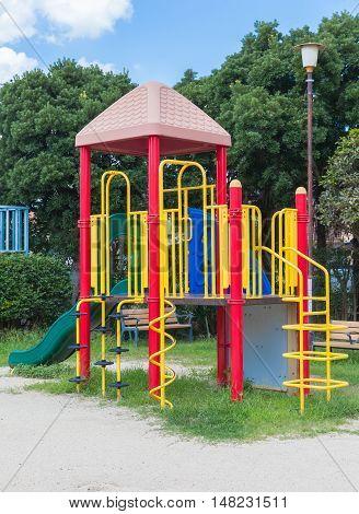 Outdoor childern playground area and playground equipment