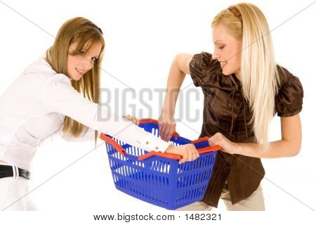 Two Young Girls With Shopping Basket