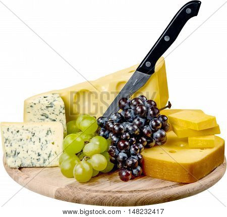 Various Kinds of Cheeses, Grape, Bread and Knife on the Wooden Platter - Isolated