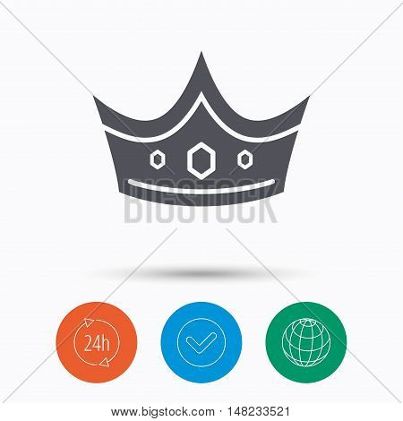 Crown icon. Royal throne leader symbol. Check tick, 24 hours service and internet globe. Linear icons on white background. Vector