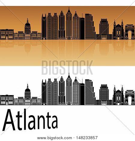 Atlanta V2 skyline in orange background in editable vector file