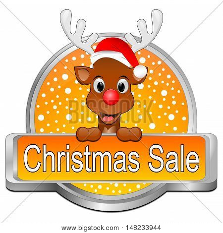 orange Christmas Sale button - 3D illustration