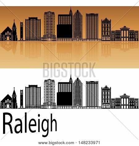 Raleigh skyline in orange background in editable vector file