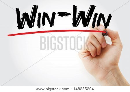 Hand Writing Win-win With Marker