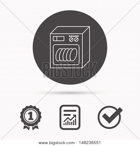 Dishwasher icon. Kitchen appliance sign. Report document, winner award and tick. Round circle button with icon. Vector