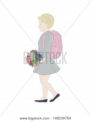 girl schoolgirl with a bouquet of flowers goes to school. vector illustration