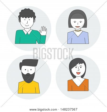 Linear style characters of people . Avatar woman and a man . Vector illustration