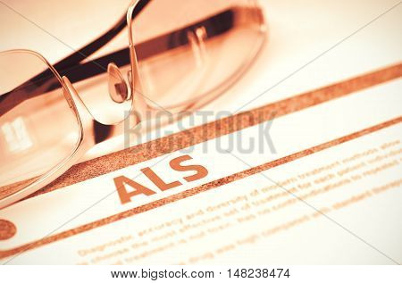 Diagnosis - ALS - Amyotrophic Lateral Sclerosis. Medical Concept with Blurred Text and Spectacles on Red Background. Selective Focus. 3D Rendering.