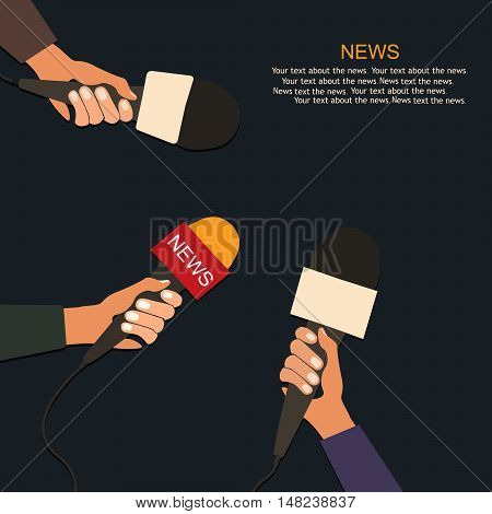 Microphones and voice recorder in hands of reporters on press conference or interview. Journalism concept.Vector
