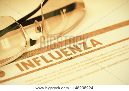 Medical Concept. Influenza - Medicine Concept on Red Background with Blurred Text and Composition of Specs. 3D Rendering.
