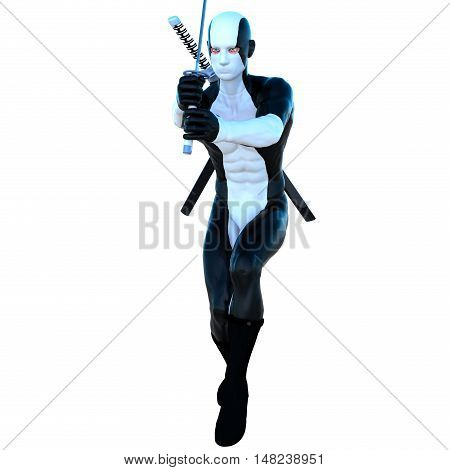 a young strong man in a white and black super suit. He stands in a combat position for attack. In his hands the sword . The second sword behind. 3D rendering, 3D illustration