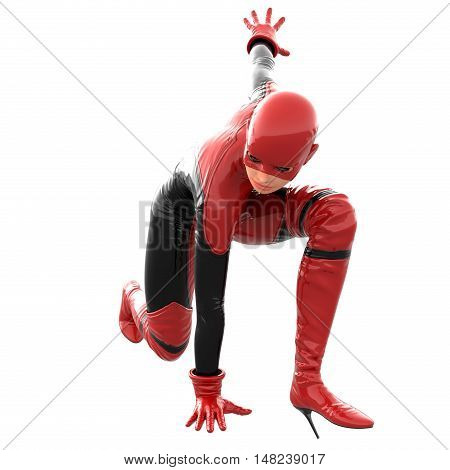 one tall woman in red black super suit. She is sitting on one knee and her left arm towards the back. 3D rendering, 3D illustration