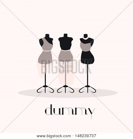 Female body beautiful vintage mannequin set.Vektor illustration
