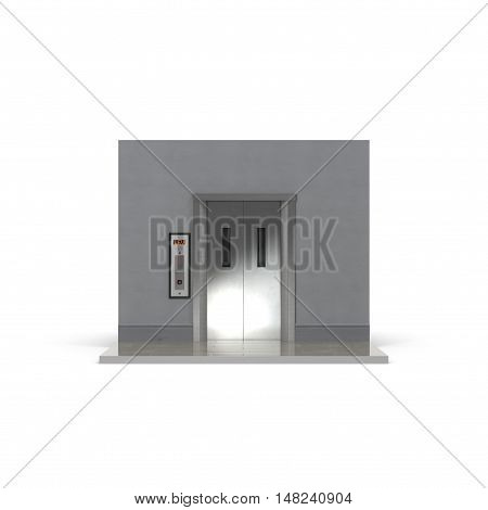 Modern elevator with closed doors isolated, 3D illustration