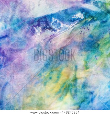 Abstract Blue And Yellow Painted Silk Batik