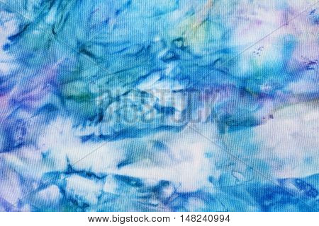 Abstract Blue And Violet Painted Silk Batik