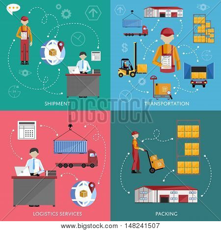 Logistic and warehouse infographics. Worldwide delivery process. Shipment on warehouse. Distribution goods and shipment of goods in container. Logistic service process infographics.