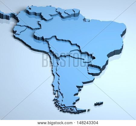 South America 3D Latin countries illustration location