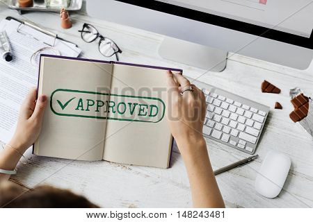 Approved Authorised Decision Selection Graphic Concept