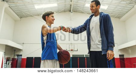 Coach Boy Athlete Basketball Bounce Sport Concept
