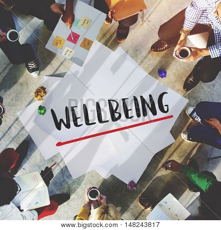 Wellbeing Positivity Mindset Thinking Wellness Concept poster
