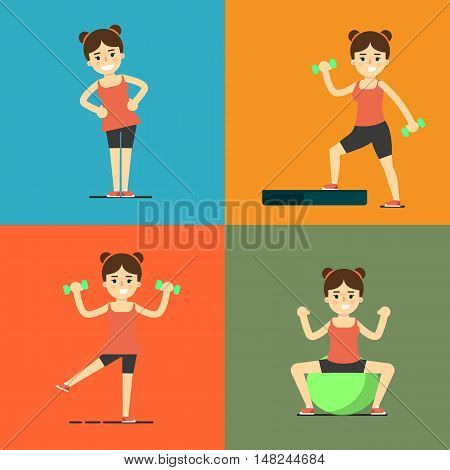 Smiling young girl doing exercises with dumbbells, step board and fit ball, vector illustration set in flat style. Healthy lifestyle. Fitness people. Workout and gymnastics. Sporty female characters