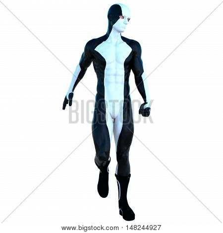 a young man in white and black super suit. Goes to camera. Head to left. Latex. 3D rendering, 3D illustration poster